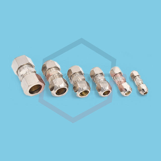 Compression Ferrule Tube Fitting Brass Pipe Double Card Set Copper Joints Tubing Nut Lock Double Straight