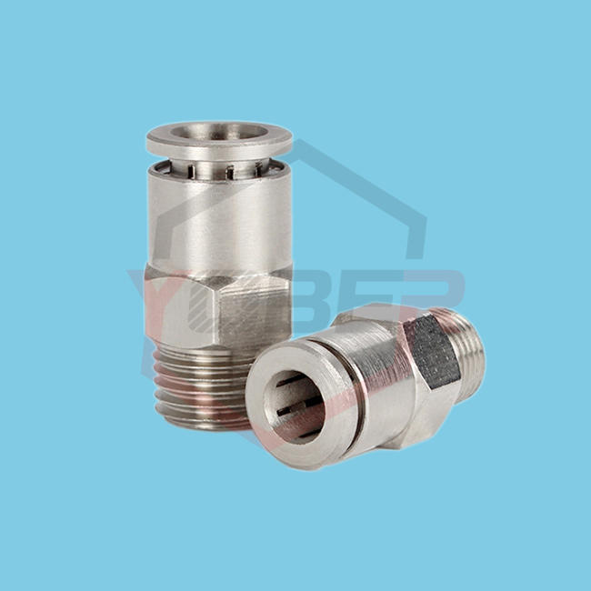 "Fittings Pneumatic Connectors 1/8"" 1/4"" 3/8""1/2"" BSPT Male Elbow Nickel Plated Brass Push In Quick Connector Release Air Fitting"