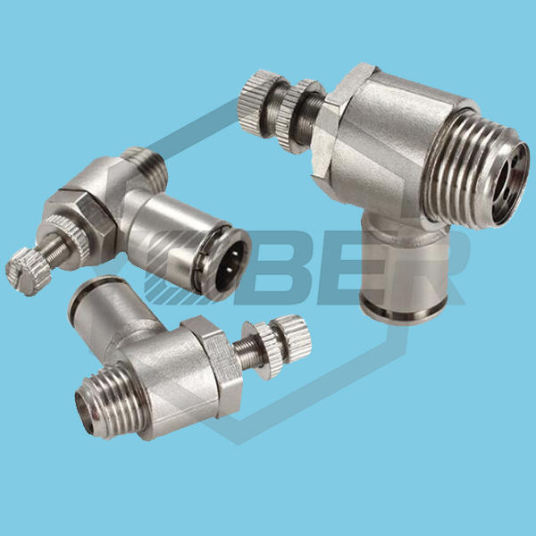 All Copper Nickel Plated Quick Release Fitting Connector SL-4 SL-6 SL-8 SL-10 SL-12 Pneumatic Fitting Straight to External Thread Throttle Speed Control Valve