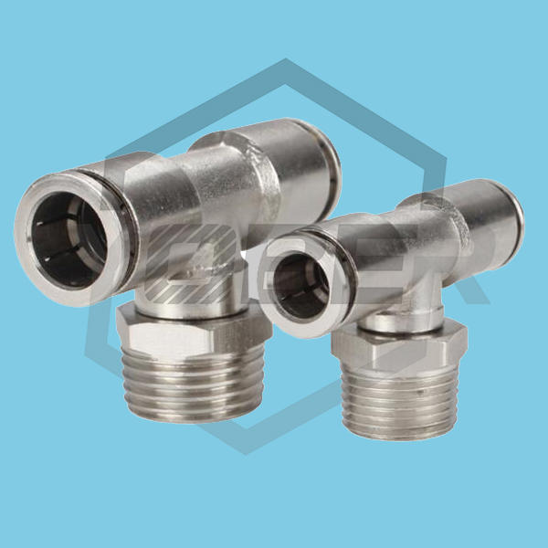 All Copper Nickel Plated Quick Plug Connector PB Trachea Pneumatic Connector Tee External Thread Resistant to High Temperature and High Pressure