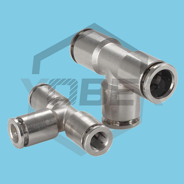 Resistant to High Pressure Corrosion All Copper Nickel Plated Quick Fitting Connector PE Trachea Pneumatic Fitting Connector Tee