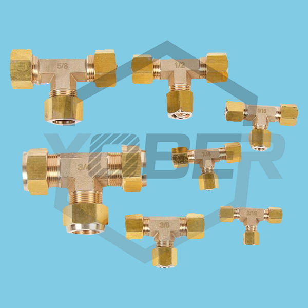 Ring Union Ferrule Compression Fittings Sleeve Double-Barbed Tube Tee Brass Fitting Connector Copper Pipe Fittings for Solar Panel Installations