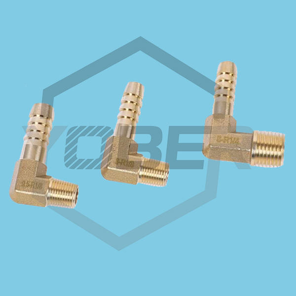 China Custom Thickened BSP Male Thread Pagoda Elbow Connector Forged Hexagonal Elbow Fittings Brass Hose Barb Fitting