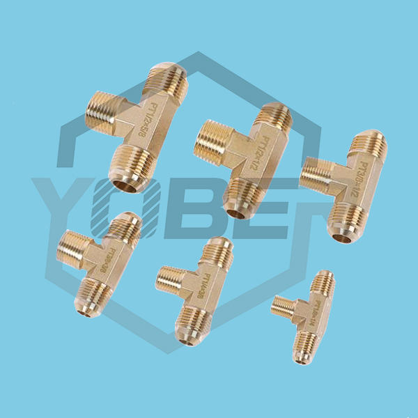Copper Brass Forged Tee Fitting Pneumatic Components Air Conditioning Brass Adapter Connector Copper Tube Couplers