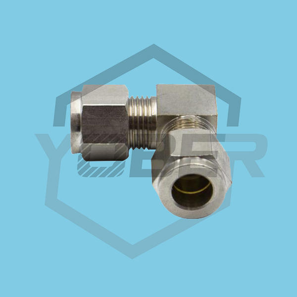 90 Elbow Nickel Plated Brass Coupler Ferrule Sleeve Compression Fitting for Hydraulic Hose