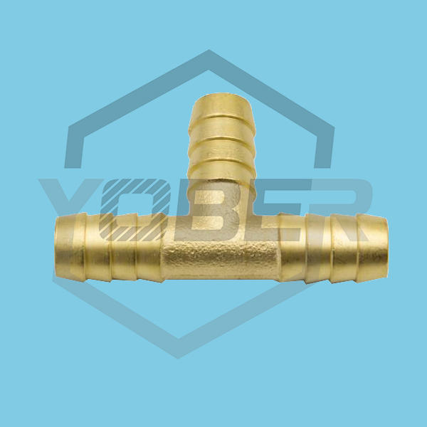 China Manufacturer Brass Air T-Shape Water Hose Connector Bulkhead Pex Pipe Tee Barbed Tube Fittings