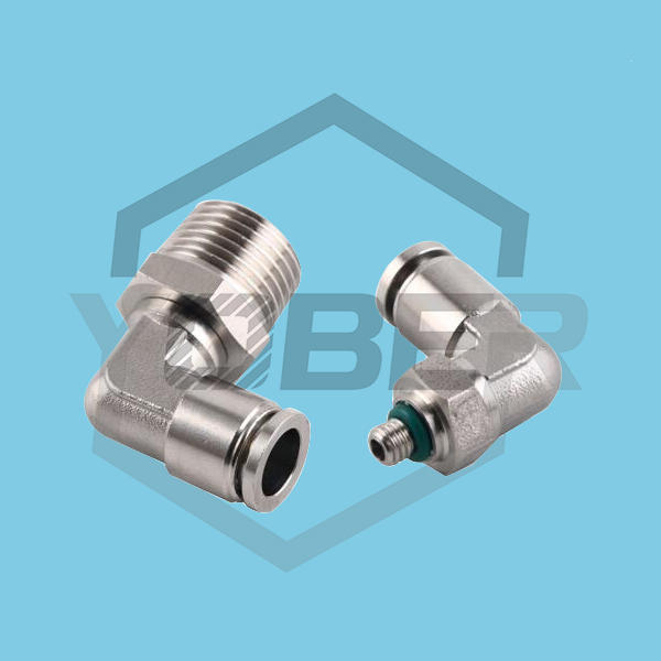 Stainless Steel 1/4 NPT 90 Degree Elbow Air Compressor Pneumatic Fittings Rotary Push Air Fittings