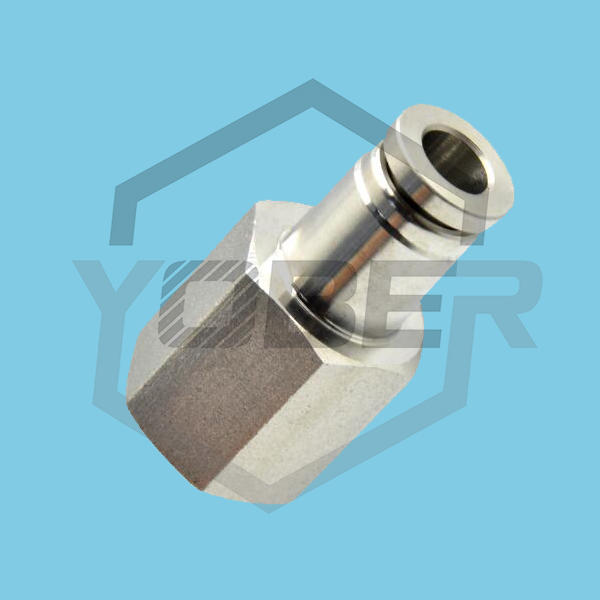 China High Quality PCF Pneumatic Brass Fitting Stainless Steel Push in Air Fitting Push to Connect
